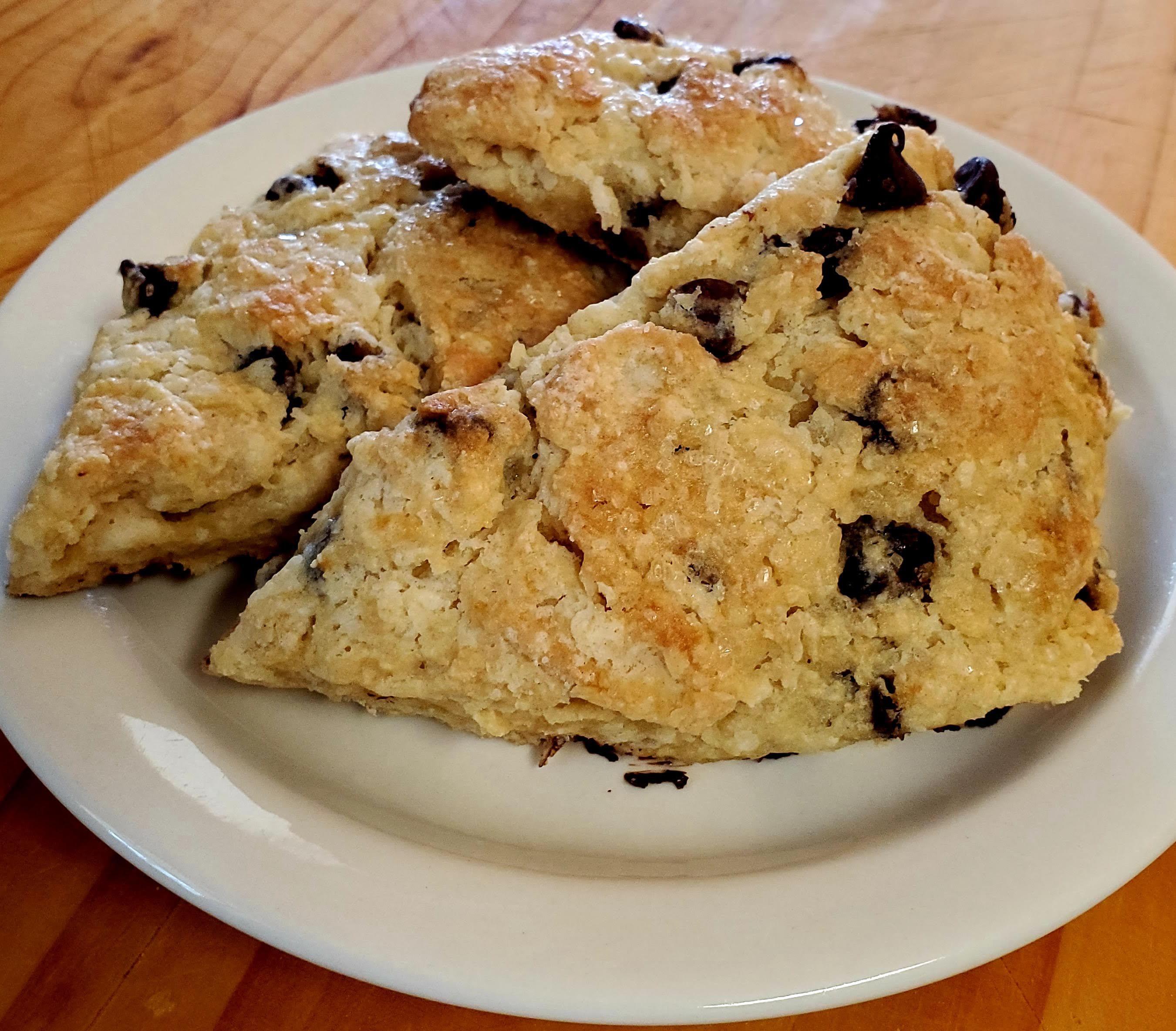 Sourdough scones with choice of mix-in (pictured with Chocolate Chips)